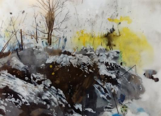 013_RODOLOSSE_Muriel_champ de guerre_peinture inversée sous Plexiglas,140x190 cm,2016