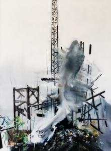 06_RODOLOSSE_Muriel_Sur les traces d'une échappée moderniste,peinture inversée sous Plexiglas,2016,190X140cm