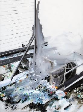 19_Muriel Rodolosse,La roue à eau_135x100cm,peinture inversée sous Plexiglas,2013