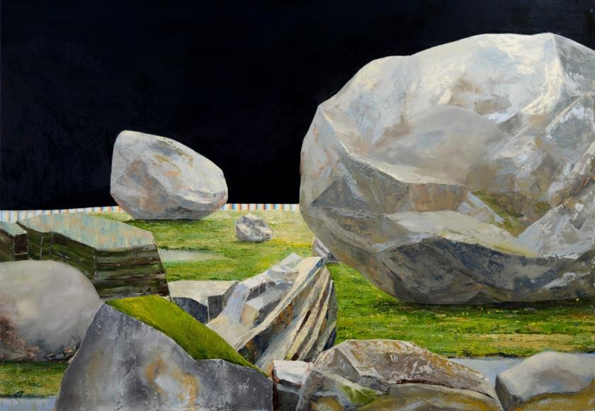 rocher III, huile sur toitle , 140 x 200 cm, 2017