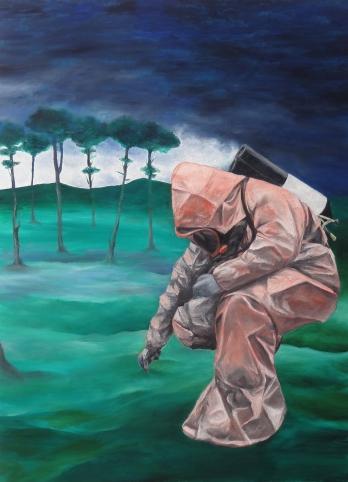 la trace (s+®rie Ordinary lives), huile sur toile, 100x72cm, 2014