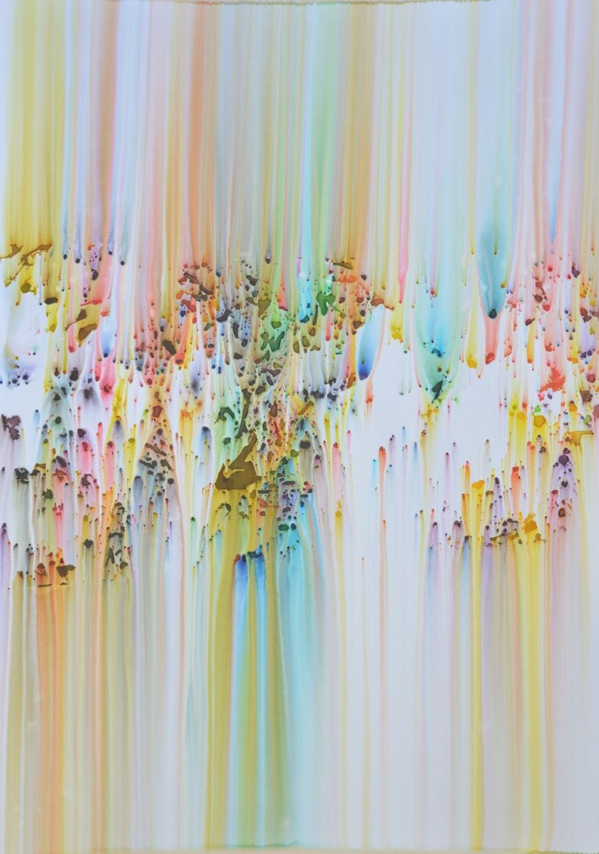 Double Waterfalls Minimal 2018 Lavis d'encre sur papier 100x70cm